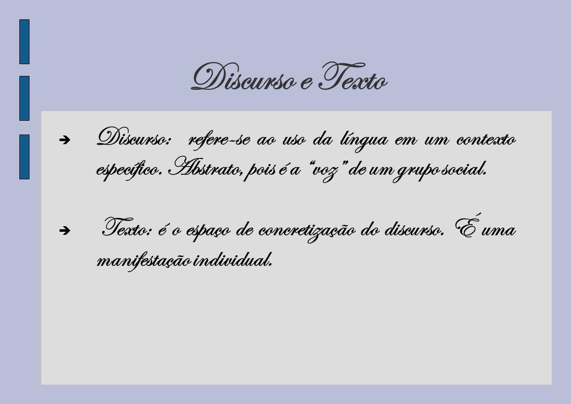 Discurso e Texto Discurso: refere-se ao uso da língua em um contexto específico. Abstrato, pois é a voz de um grupo social. Texto: é o espaço de concr