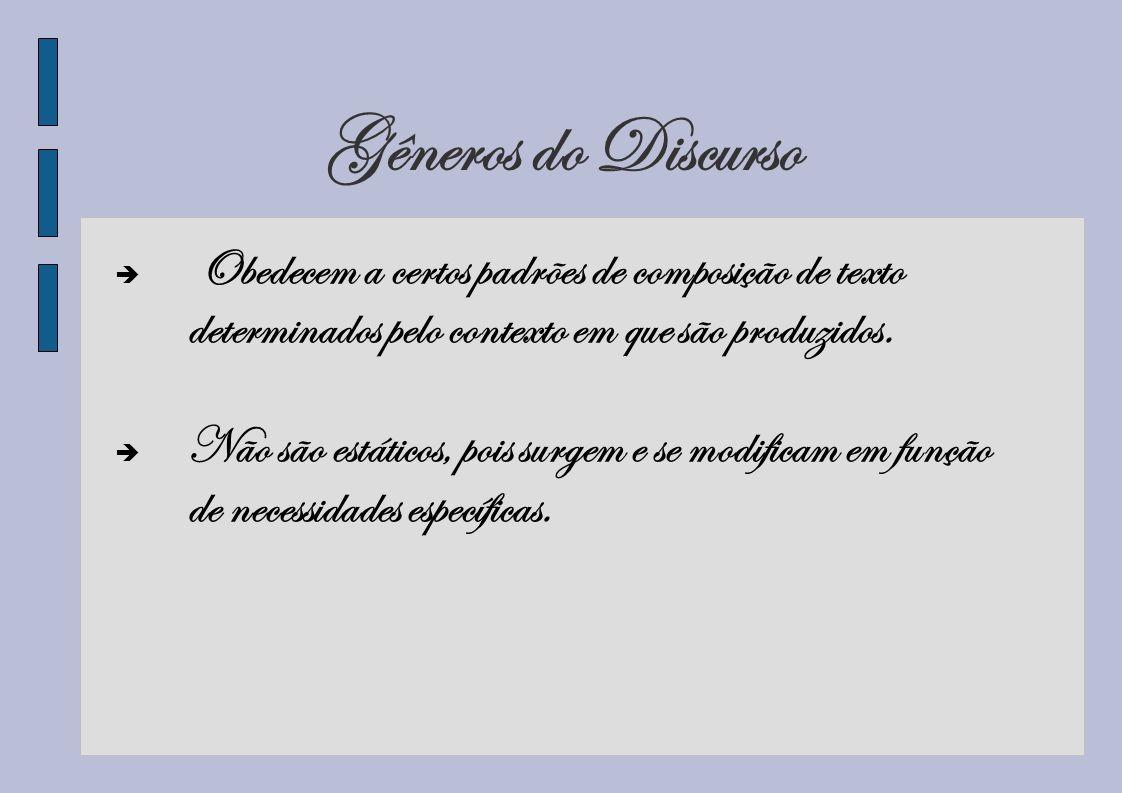 Gêneros do Discurso Obedecem a certos padrões de composição de texto determinados pelo contexto em que são produzidos. Não são estáticos, pois surgem
