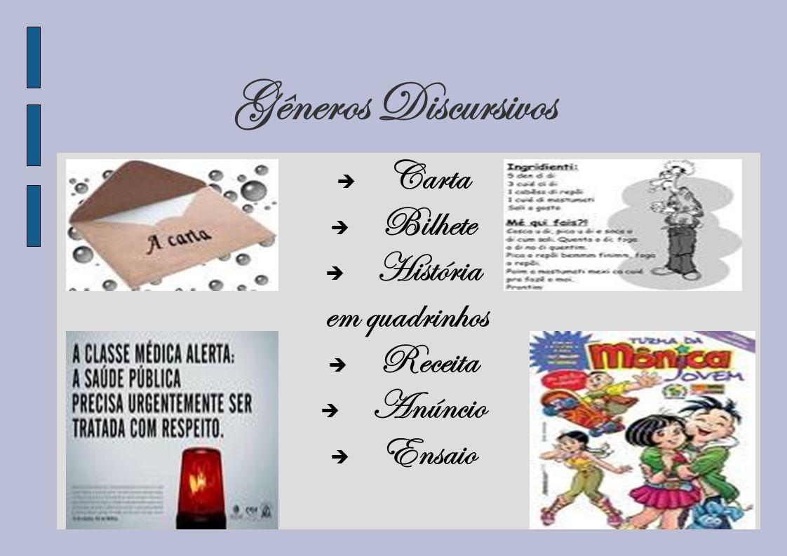 Gêneros Discursivos Carta Bilhete História em quadrinhos Receita Anúncio Ensaio