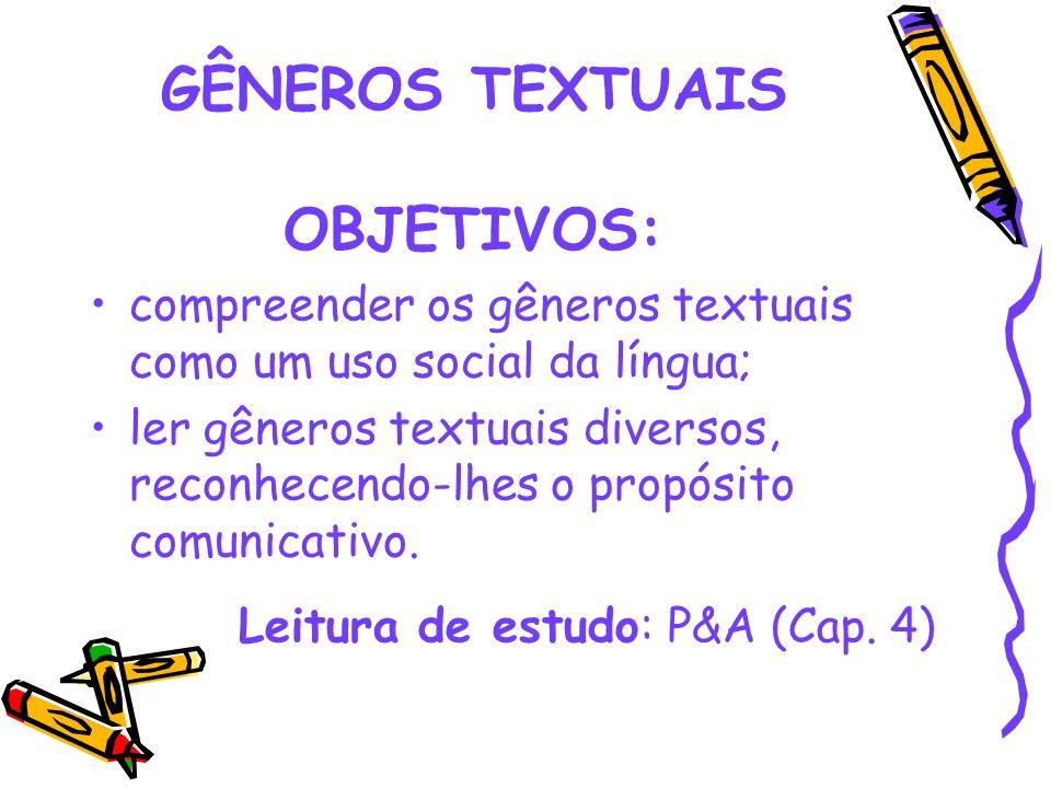 GÊNEROS TEXTUAIS OBJETIVOS: compreender os gêneros textuais como um uso social da língua; ler gêneros textuais diversos, reconhecendo-lhes o propósito
