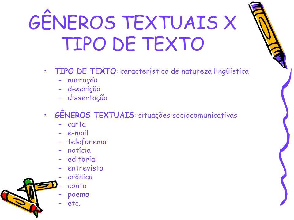 GÊNEROS TEXTUAIS X TIPO DE TEXTO TIPO DE TEXTO: característica de natureza lingüística –narração –descrição –dissertação GÊNEROS TEXTUAIS: situações s