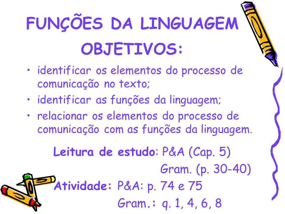 FUNÇÕES DA LINGUAGEM OBJETIVOS: identificar os elementos do processo de comunicação no texto; identificar as funções da linguagem; relacionar os eleme