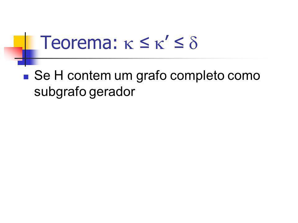 Teorema: Se H contem um grafo completo como subgrafo gerador