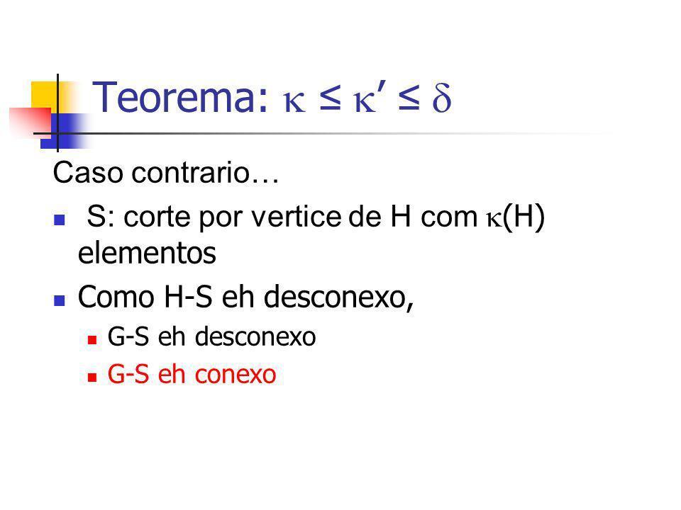 Teorema: Caso contrario… S: corte por vertice de H com (H) elementos Como H-S eh desconexo, G-S eh desconexo G-S eh conexo