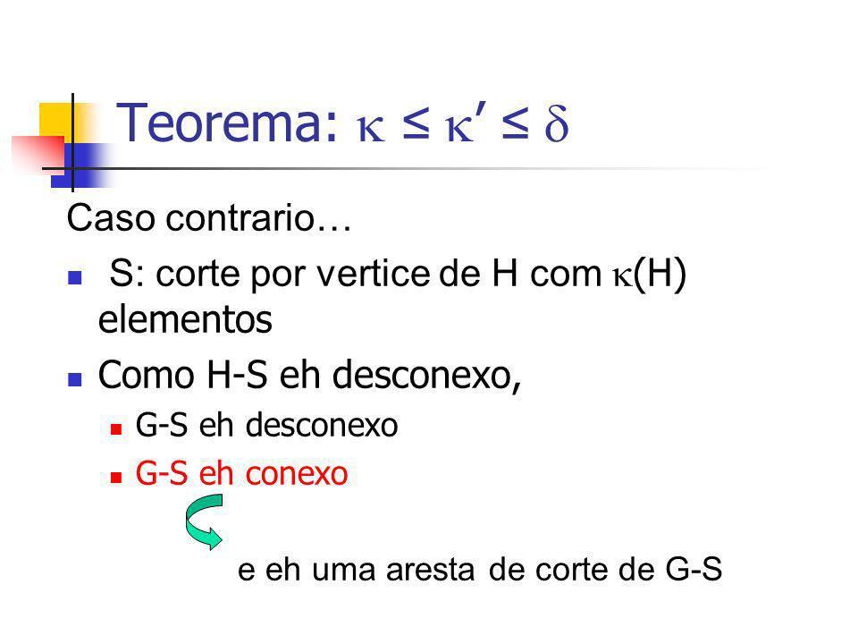 Teorema: Caso contrario… S: corte por vertice de H com (H) elementos Como H-S eh desconexo, G-S eh desconexo G-S eh conexo e eh uma aresta de corte de