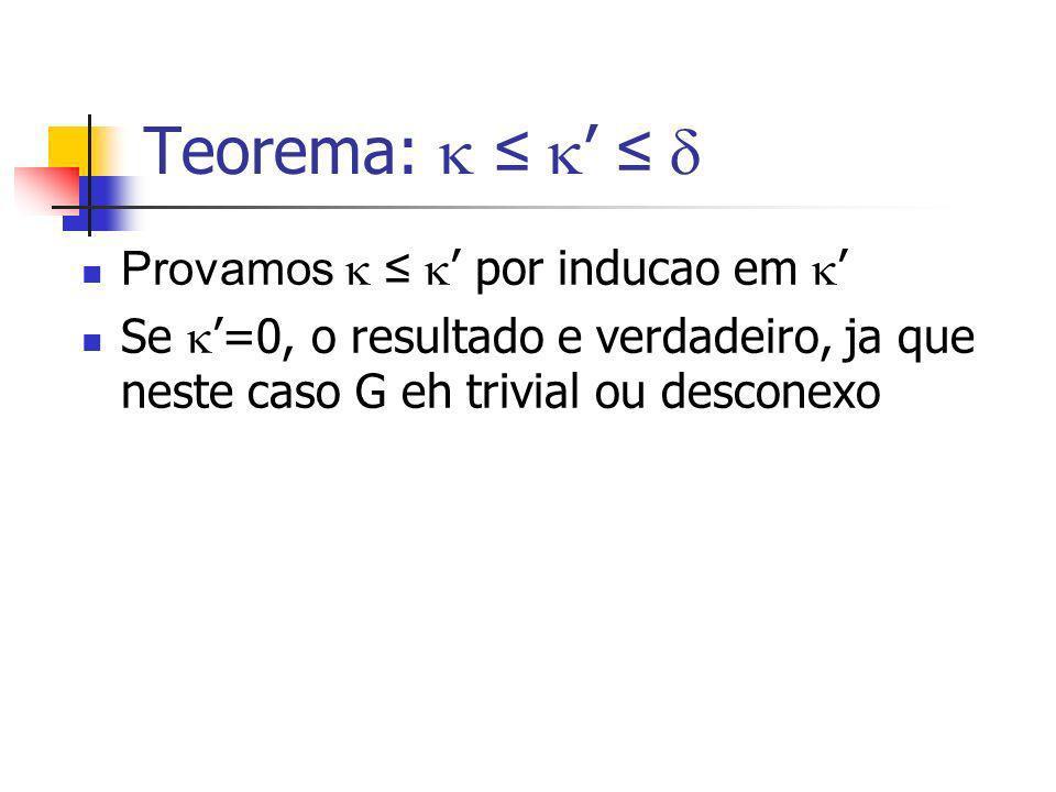 Teorema: Provamos por inducao em Se =0, o resultado e verdadeiro, ja que neste caso G eh trivial ou desconexo