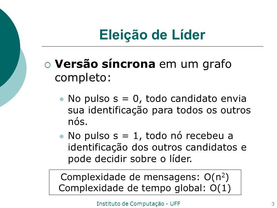 Instituto de Computação - UFF 4 Eleição de Líder A fim de reduzir a complexidade de mensagens para O(n log n) mensagens: Um candidato não envia sua identificação para todos os vizinhos no mesmo pulso.