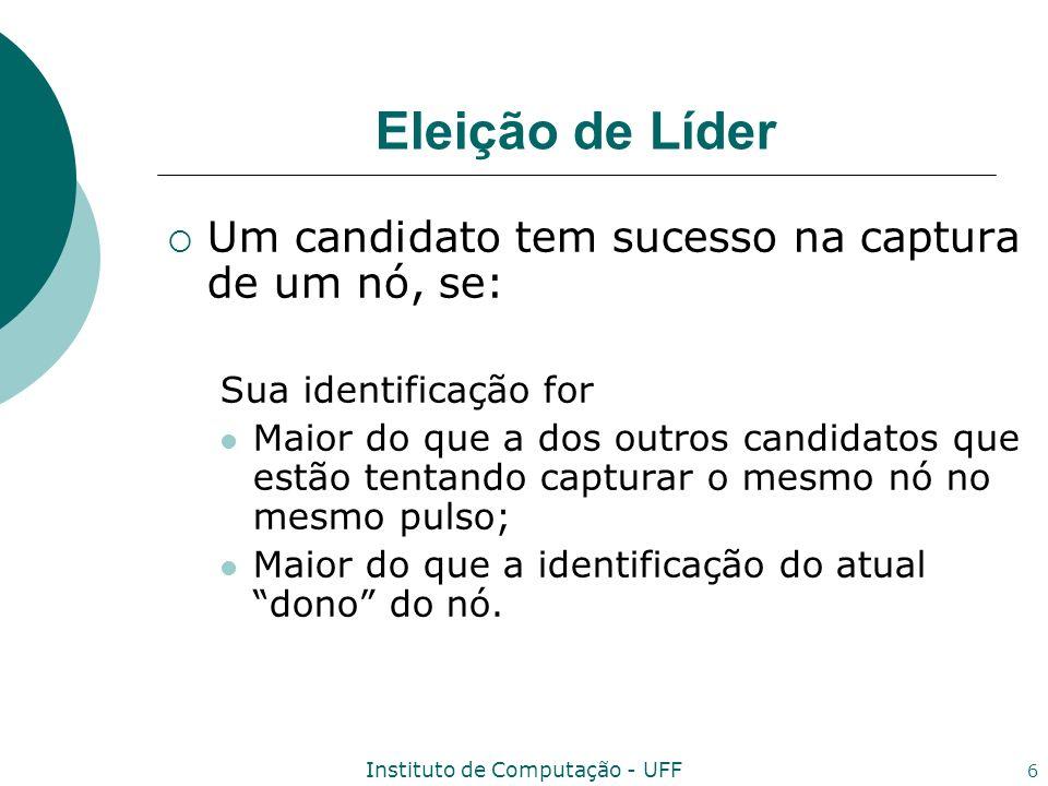 Instituto de Computação - UFF 17 Algoritmo A_Elect_Leader_C Algoritmo Input: msg i = eliminate(level j,id j ) tal que origem(msg i ) = n j ; Ação: If not candidate i then Envie eliminated para n j ; else if (level i,id i ) < (level j,id j ) then begin candidate i := false; Envie eliminated para n j ; end else Envie nack para n j ;