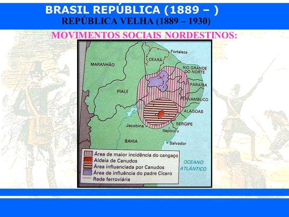 BRASIL REPÚBLICA (1889 – ) Prof. Iair iair@pop.com.br REPÚBLICA VELHA (1889 – 1930) MOVIMENTOS SOCIAIS NORDESTINOS: