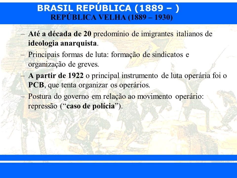 BRASIL REPÚBLICA (1889 – ) Prof. Iair iair@pop.com.br REPÚBLICA VELHA (1889 – 1930) –Até a década de 20 predomínio de imigrantes italianos de ideologi