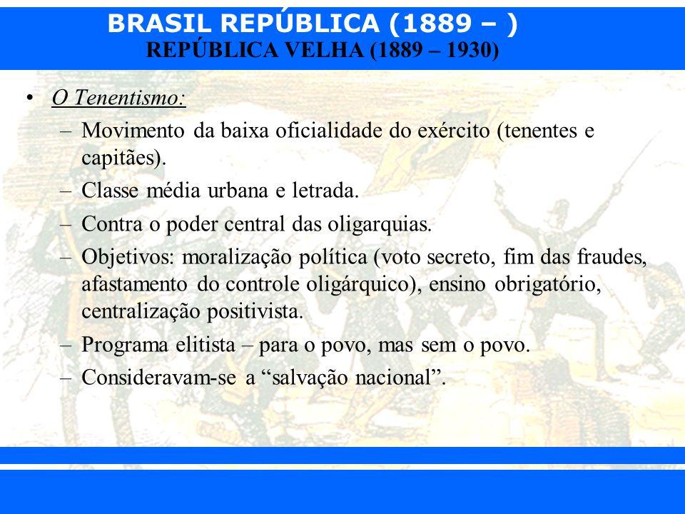 BRASIL REPÚBLICA (1889 – ) Prof. Iair iair@pop.com.br REPÚBLICA VELHA (1889 – 1930) O Tenentismo: –Movimento da baixa oficialidade do exército (tenent