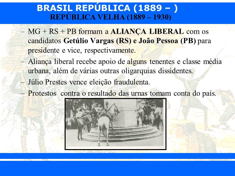 BRASIL REPÚBLICA (1889 – ) Prof. Iair iair@pop.com.br REPÚBLICA VELHA (1889 – 1930) –MG + RS + PB formam a ALIANÇA LIBERAL com os candidatos Getúlio V