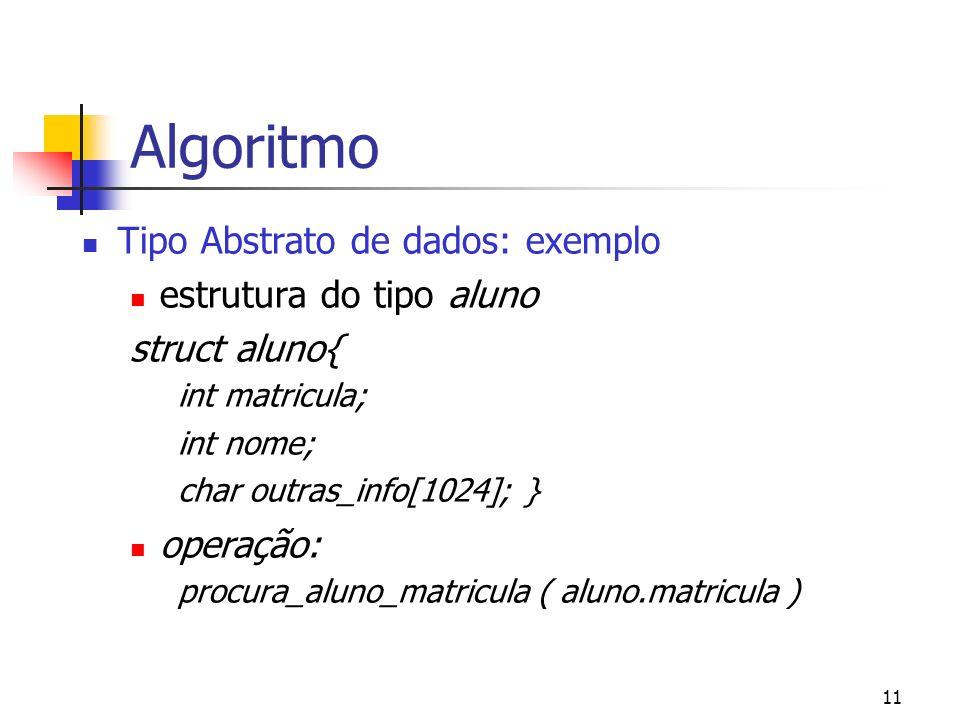 11 Algoritmo Tipo Abstrato de dados: exemplo estrutura do tipo aluno struct aluno{ int matricula; int nome; char outras_info[1024]; } operação: procura_aluno_matricula ( aluno.matricula )