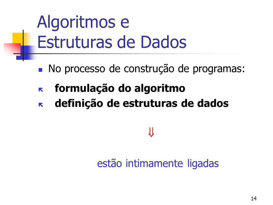 14 Algoritmos e Estruturas de Dados No processo de construção de programas: formulação do algoritmo definição de estruturas de dados estão intimamente ligadas