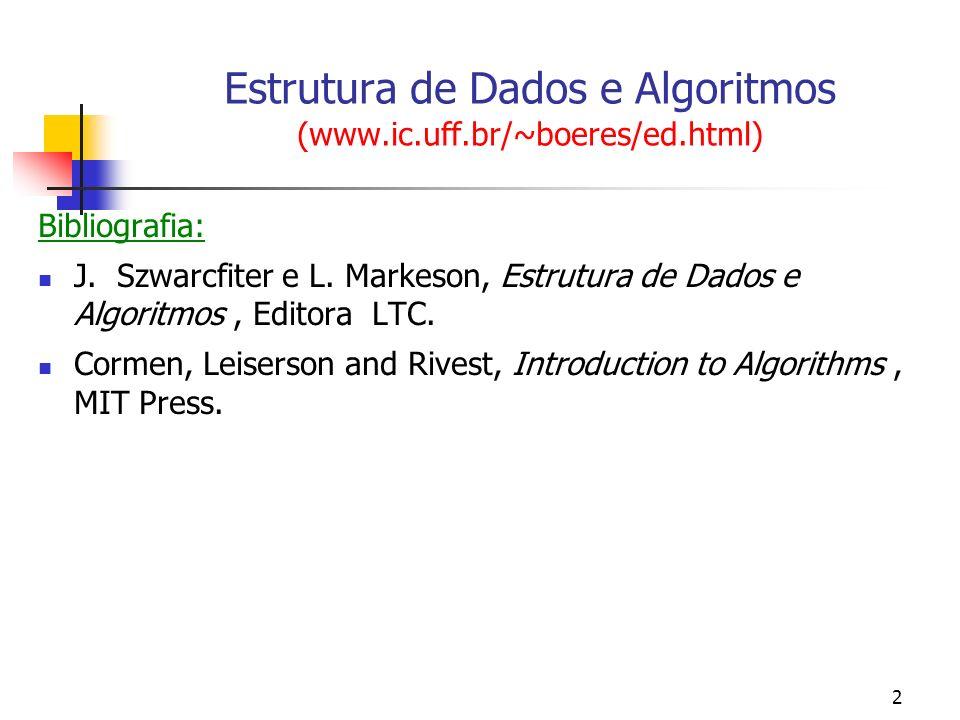 2 Estrutura de Dados e Algoritmos (www.ic.uff.br/~boeres/ed.html) Bibliografia: J. Szwarcfiter e L. Markeson, Estrutura de Dados e Algoritmos, Editora