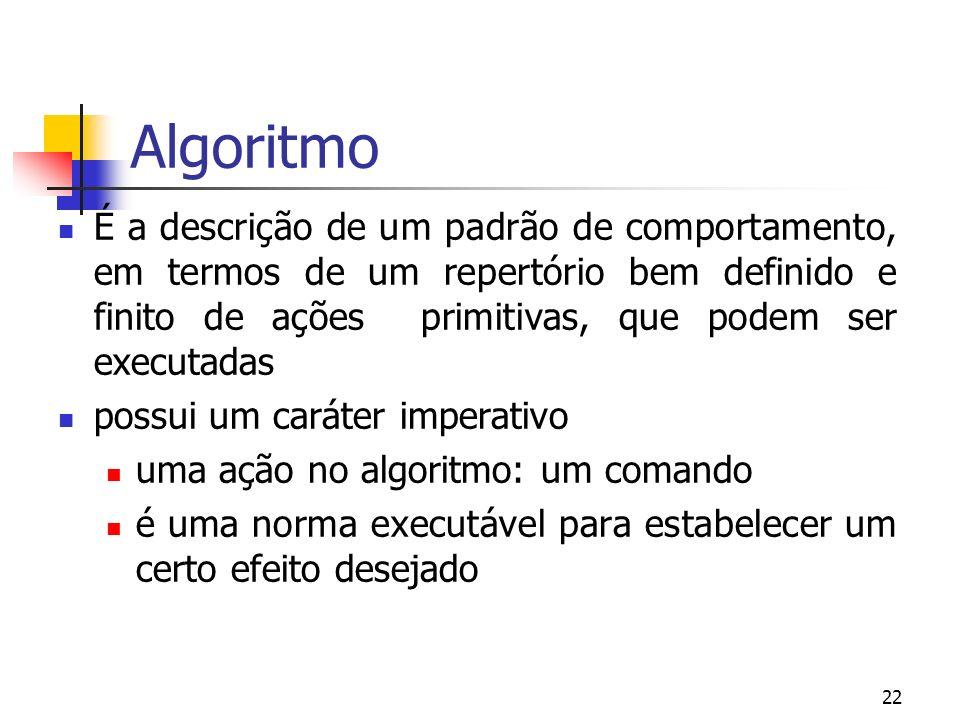 22 Algoritmo É a descrição de um padrão de comportamento, em termos de um repertório bem definido e finito de ações primitivas, que podem ser executadas possui um caráter imperativo uma ação no algoritmo: um comando é uma norma executável para estabelecer um certo efeito desejado