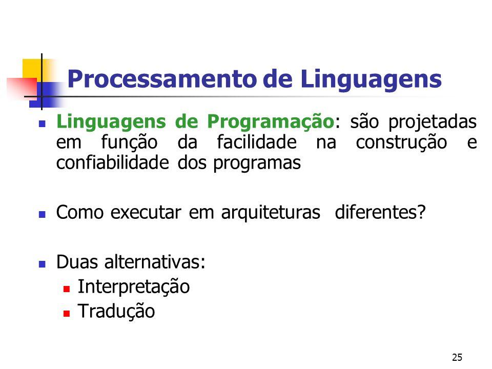 25 Processamento de Linguagens Linguagens de Programação: são projetadas em função da facilidade na construção e confiabilidade dos programas Como executar em arquiteturas diferentes.