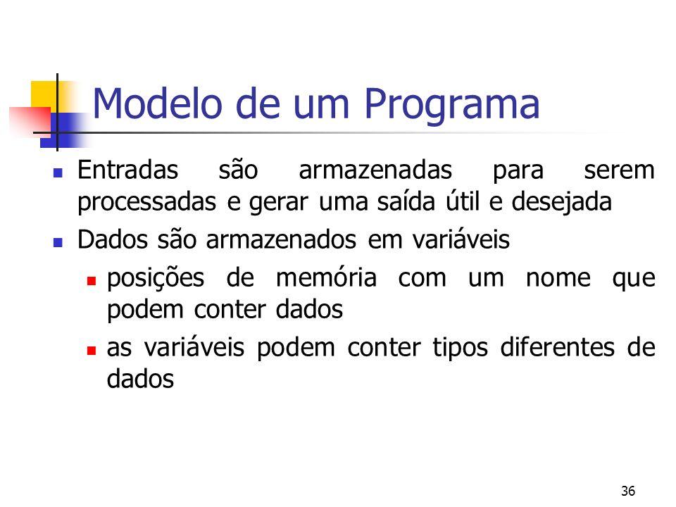 36 Modelo de um Programa Entradas são armazenadas para serem processadas e gerar uma saída útil e desejada Dados são armazenados em variáveis posições de memória com um nome que podem conter dados as variáveis podem conter tipos diferentes de dados
