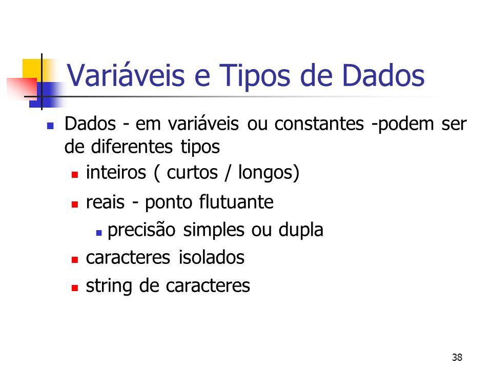38 Variáveis e Tipos de Dados Dados - em variáveis ou constantes -podem ser de diferentes tipos inteiros ( curtos / longos) reais - ponto flutuante precisão simples ou dupla caracteres isolados string de caracteres
