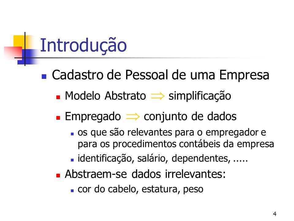 4 Introdução Cadastro de Pessoal de uma Empresa Modelo Abstrato simplificação Empregado conjunto de dados os que são relevantes para o empregador e para os procedimentos contábeis da empresa identificação, salário, dependentes,.....