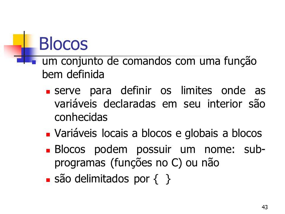 43 Blocos um conjunto de comandos com uma função bem definida serve para definir os limites onde as variáveis declaradas em seu interior são conhecidas Variáveis locais a blocos e globais a blocos Blocos podem possuir um nome: sub- programas (funções no C) ou não são delimitados por { }