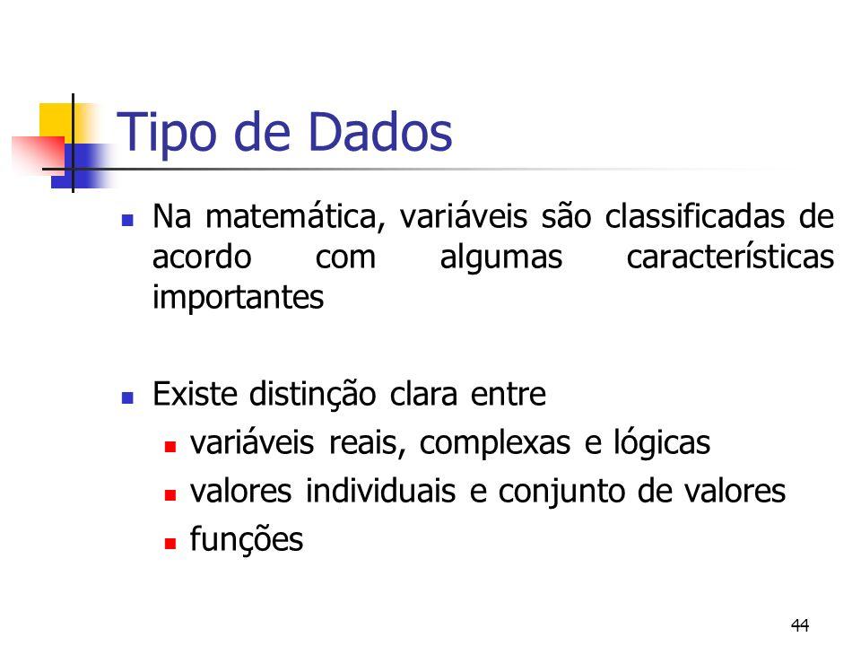 44 Tipo de Dados Na matemática, variáveis são classificadas de acordo com algumas características importantes Existe distinção clara entre variáveis reais, complexas e lógicas valores individuais e conjunto de valores funções