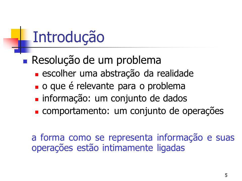 5 Introdução Resolução de um problema escolher uma abstração da realidade o que é relevante para o problema informação: um conjunto de dados comportam