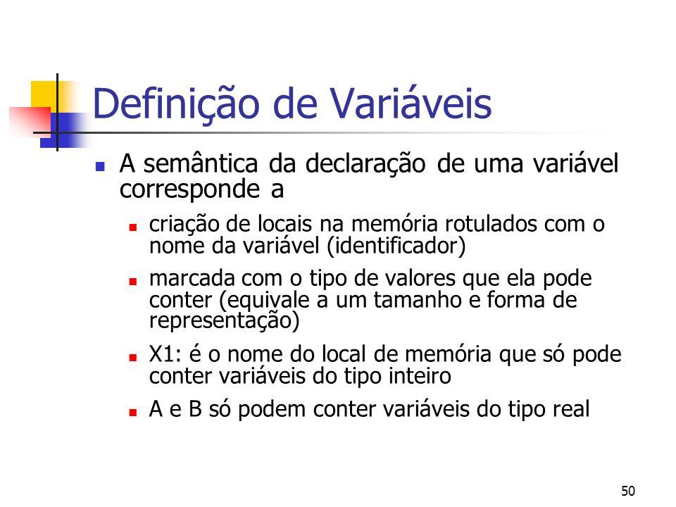 50 Definição de Variáveis A semântica da declaração de uma variável corresponde a criação de locais na memória rotulados com o nome da variável (ident