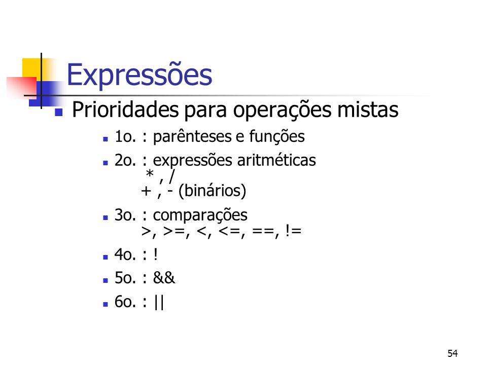 54 Expressões Prioridades para operações mistas 1o. : parênteses e funções 2o. : expressões aritméticas *, / +, - (binários) 3o. : comparações >, >=,
