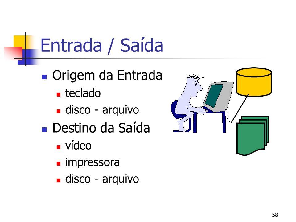 58 Entrada / Saída Origem da Entrada teclado disco - arquivo Destino da Saída vídeo impressora disco - arquivo