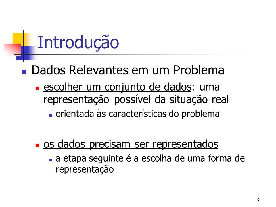 6 Introdução Dados Relevantes em um Problema escolher um conjunto de dados: uma representação possível da situação real orientada às características d
