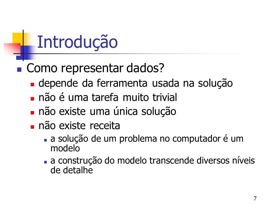 7 Introdução Como representar dados.
