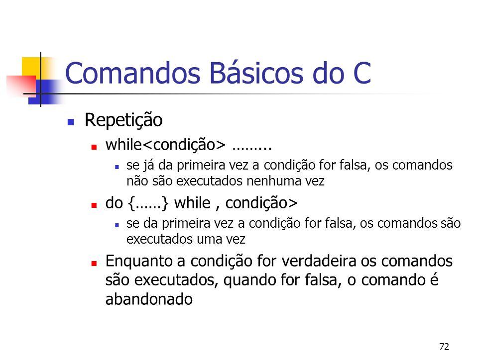 72 Comandos Básicos do C Repetição while ……... se já da primeira vez a condição for falsa, os comandos não são executados nenhuma vez do {……} while, c