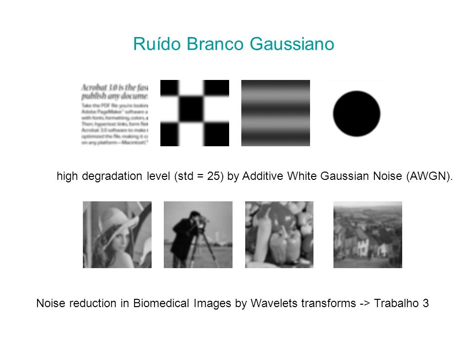 Ruído Branco Gaussiano high degradation level (std = 25) by Additive White Gaussian Noise (AWGN). Noise reduction in Biomedical Images by Wavelets tra