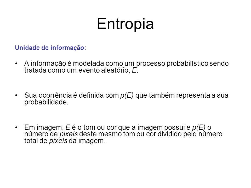 Entropia Unidade de informação: A informação é modelada como um processo probabilístico sendo tratada como um evento aleatório, E. Sua ocorrência é de