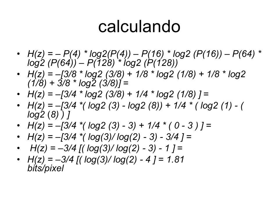 calculando H(z) = – P(4) * log2(P(4)) – P(16) * log2 (P(16)) – P(64) * log2 (P(64)) – P(128) * log2 (P(128)) H(z) = –[3/8 * log2 (3/8) + 1/8 * log2 (1