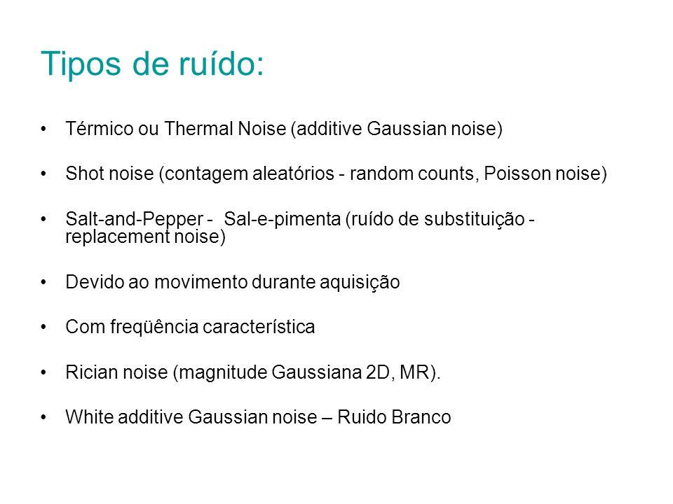 Tipos de ruído: Térmico ou Thermal Noise (additive Gaussian noise) Shot noise (contagem aleatórios - random counts, Poisson noise) Salt-and-Pepper - S