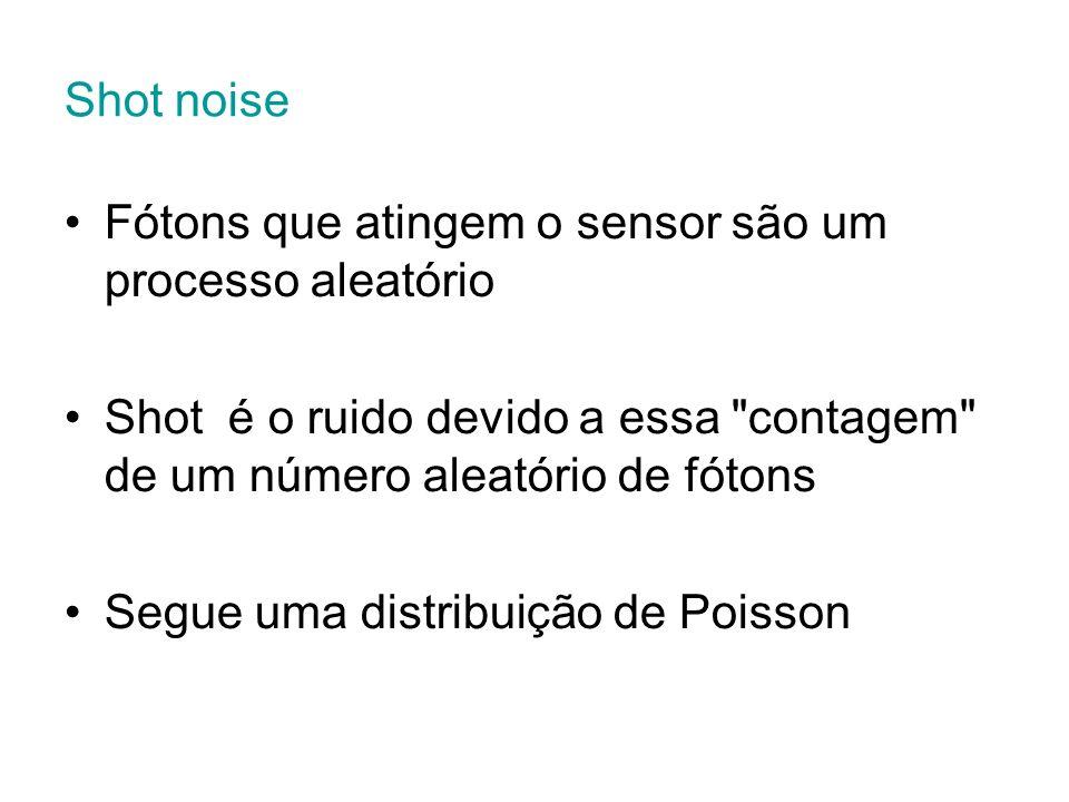 Shot noise Fótons que atingem o sensor são um processo aleatório Shot é o ruido devido a essa