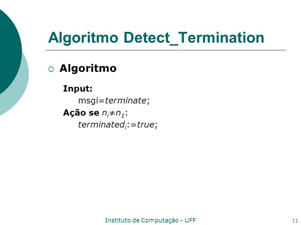 Instituto de Computação - UFF 11 Algoritmo Detect_Termination Algoritmo Input: msgi=terminate; Ação se n in 1 : terminated i :=true;