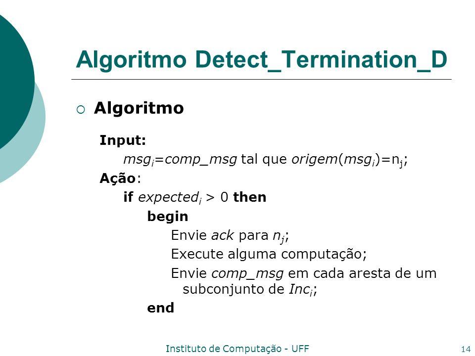 Instituto de Computação - UFF 14 Algoritmo Input: msg i =comp_msg tal que origem(msg i )=n j ; Ação: if expected i > 0 then begin Envie ack para n j ; Execute alguma computação; Envie comp_msg em cada aresta de um subconjunto de Inc i ; end Algoritmo Detect_Termination_D