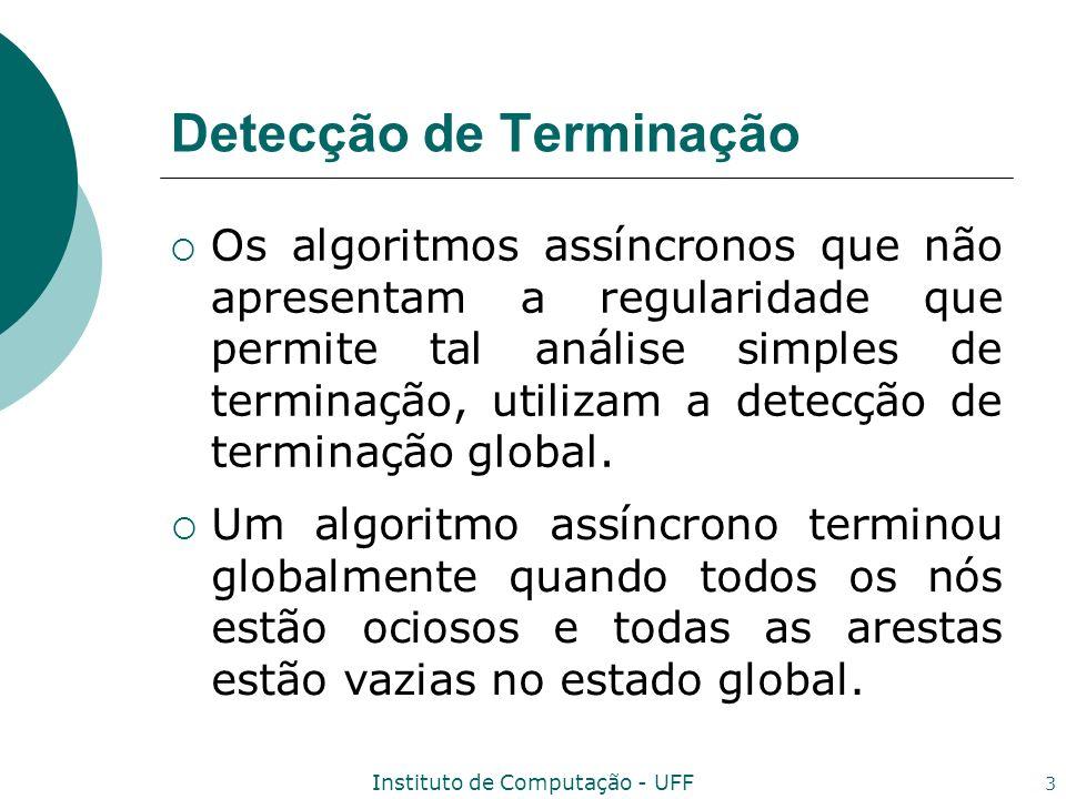 Instituto de Computação - UFF 4 Algoritmo Detect_Termination Variáveis suspects i ; edge_state i j :={} para todo n j ; recorded i :=false; received i j :=false para todo n j ; max_tag i :=0; terminated i :=false;