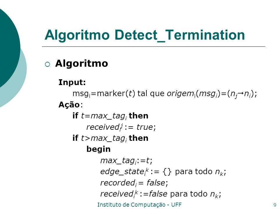 Instituto de Computação - UFF 10 Algoritmo Detect_Termination Algoritmo if suspects i then begin received i j := true; recorded i := true; Envie marker(max_tag i ) para todo n j ; end If received i k para todo n k then Envie edge_state i k para todo n k, juntamente com max_tag i para n 1 ;