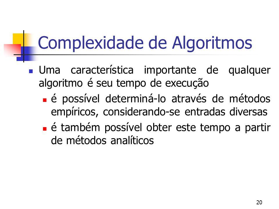 20 Complexidade de Algoritmos Uma característica importante de qualquer algoritmo é seu tempo de execução é possível determiná-lo através de métodos empíricos, considerando-se entradas diversas é também possível obter este tempo a partir de métodos analíticos