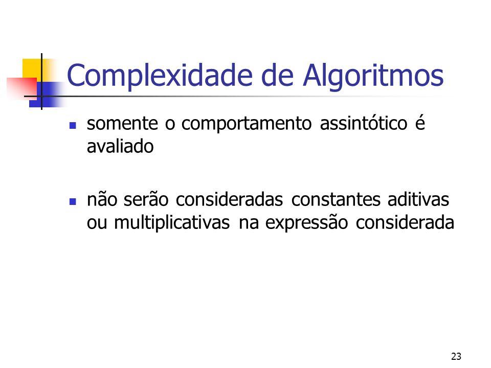 23 Complexidade de Algoritmos somente o comportamento assintótico é avaliado não serão consideradas constantes aditivas ou multiplicativas na expressão considerada
