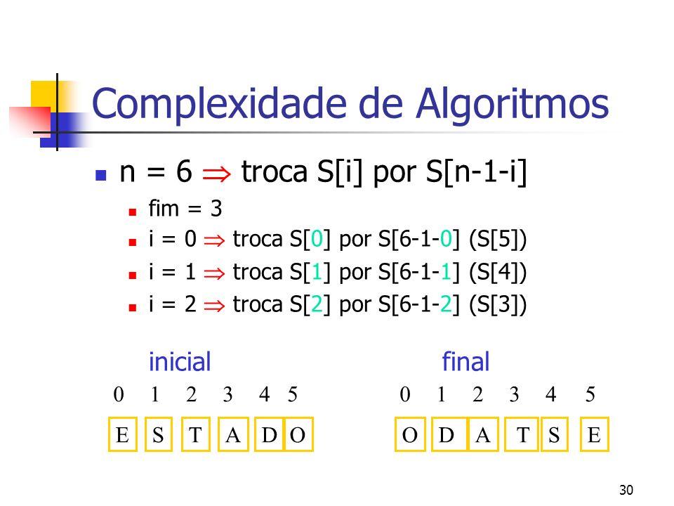 30 Complexidade de Algoritmos n = 6 troca S[i] por S[n-1-i] fim = 3 i = 0 troca S[0] por S[6-1-0] (S[5]) i = 1 troca S[1] por S[6-1-1] (S[4]) i = 2 troca S[2] por S[6-1-2] (S[3]) inicial final EDSTA 04123 OSDA T 04123 O 5 E 5