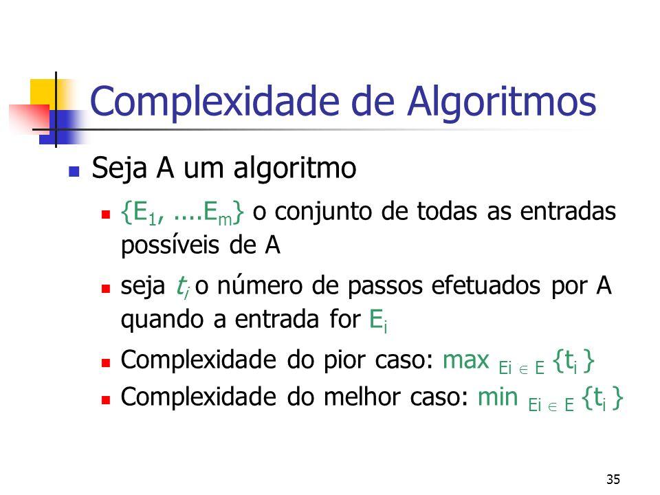 35 Complexidade de Algoritmos Seja A um algoritmo {E 1,....E m } o conjunto de todas as entradas possíveis de A seja t i o número de passos efetuados por A quando a entrada for E i Complexidade do pior caso: max Ei E {t i } Complexidade do melhor caso: min Ei E {t i }