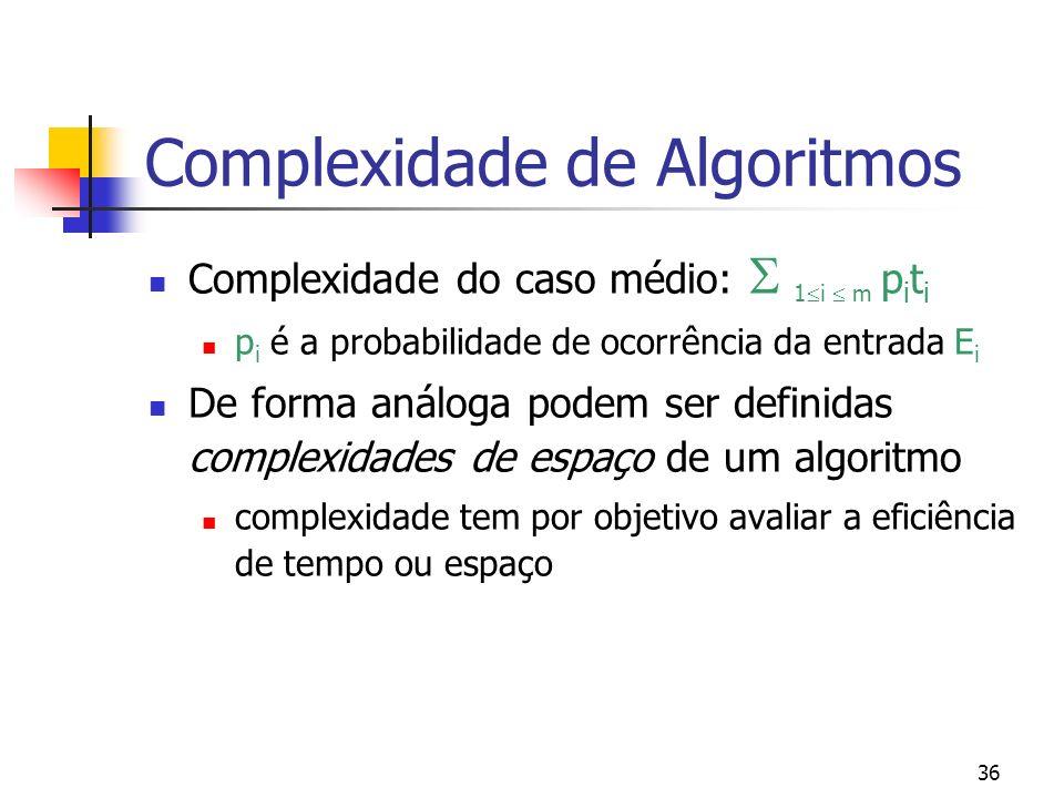 36 Complexidade de Algoritmos Complexidade do caso médio: 1 i m p i t i p i é a probabilidade de ocorrência da entrada E i De forma análoga podem ser definidas complexidades de espaço de um algoritmo complexidade tem por objetivo avaliar a eficiência de tempo ou espaço