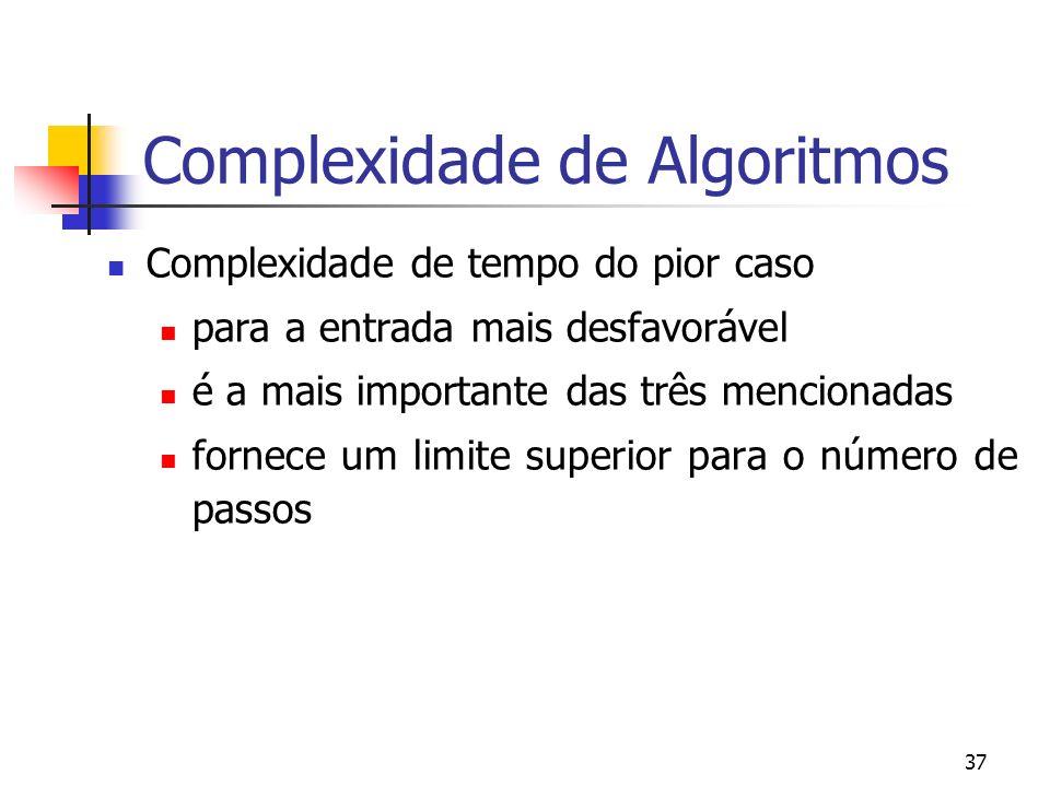 37 Complexidade de Algoritmos Complexidade de tempo do pior caso para a entrada mais desfavorável é a mais importante das três mencionadas fornece um limite superior para o número de passos