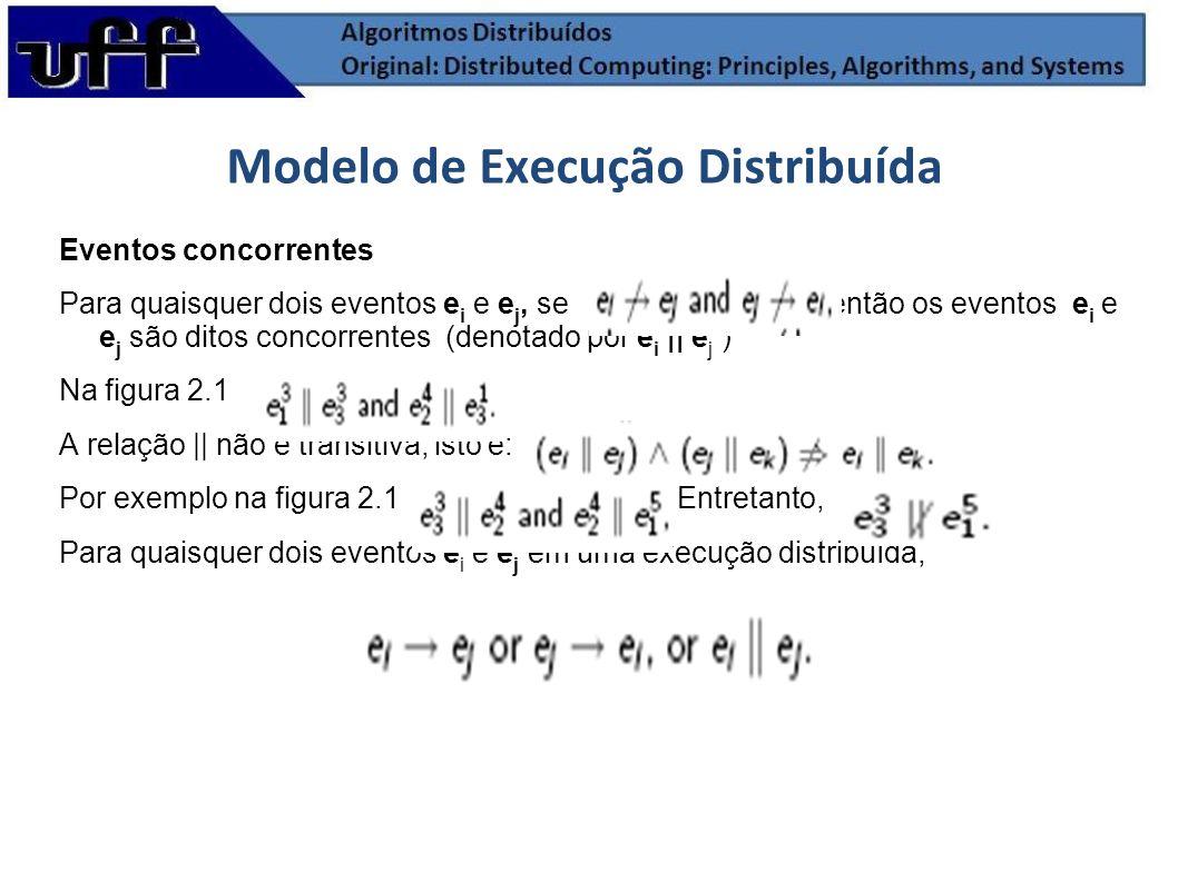 Eventos concorrentes Para quaisquer dois eventos e i e e j, se então os eventos e i e e j são ditos concorrentes (denotado por e i || e j ) Na figura