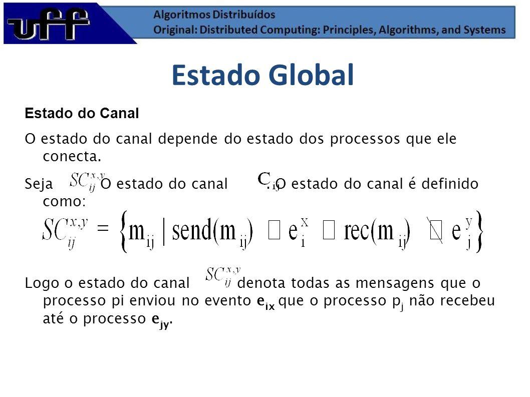 Estado do Canal O estado do canal depende do estado dos processos que ele conecta. Seja O estado do canal. O estado do canal é definido como: Logo o e